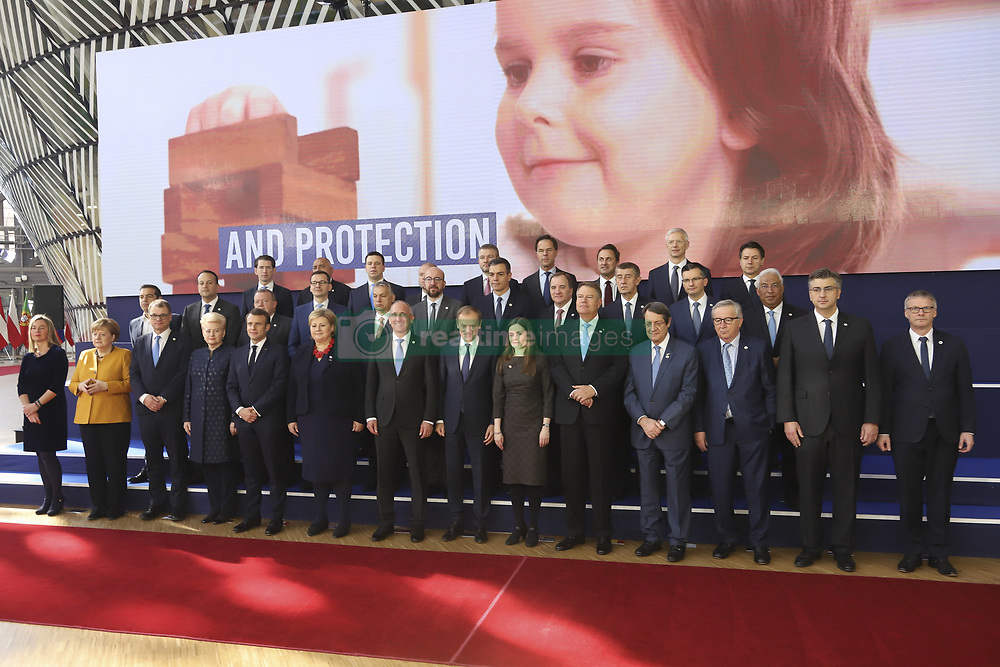 March 22, 2019 - Brussels, Belgium - The group family photo in Forum Europa of the European leaders without the presence of the British Theresa May a day after the long Brexit talks in Brussels, Belgium. Leaders in the phoro are Federica Mogherini, Germany's Chancellor Angela Merkel, Finland's Prime minister Juha Sipila, Lithuania's President Dalia Grybauskaite, France's President Emmanuel Macron, Norway's Prime Minister Erna Solberg, Prime Minister of the Principality of Liechtenstein Adrian Hasler, European Council President Donald Tusk, Prime Minister of Iceland Katrín Jakobsdottir, Romania's President Klaus Werner Iohannis, Cyprus' President Nicos Anastasiades, President of the European Commission Jean-Claude Juncker, Croatia's Prime Minister Andrej Plenkovic, Greece's Prime Minister Alexis Tsipras, Ireland's Prime Minister Leo Varadkar, Denmark's Prime Minister Lars Lokke Rasmussen, Poland's Prime Minister Mateusz Morawiecki, Hungary's Prime Minister Viktor Orban, Belgium's Prime Minister Charles Michel, Spain's Prime Minister Pedro Sanchez, Sweden's Prime Minister Stefan Lofven, Czech Republic's Prime Minister Andrej Babis, Slovenia's Prime Minister Marjan Sarec, Portugal's Prime Minister Antonio Costa, (3rd row) Austria's Chancellor Sebastian Kurz, Bulgaria's Prime Minister Boyko Borisov, Estonia's Prime Minister Juri Ratas, Malta's Prime Minister Joseph Muscat, Slovakia's Prime Minister Peter Pellegrini, Netherlands' Prime Minister Mark Rutte, Latvia's Prime Minister Krisjanis Karins and Italian Prime Minister Giuseppe Conte. Brussels, 22 March 2019  (Credit Image: © Nicolas Economou/NurPhoto via ZUMA Press)