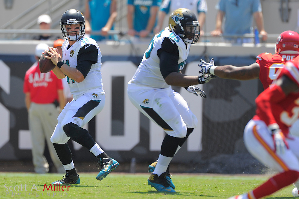 Jacksonville Jaguars quarterback Blaine Gabbert (11) during the Jags 28-2 loss to the Kansas City Chiefs at EverBank Field on Sept. 8, 2013 in Jacksonville, Florida. The <br /> <br /> &copy;2013 Scott A. Miller