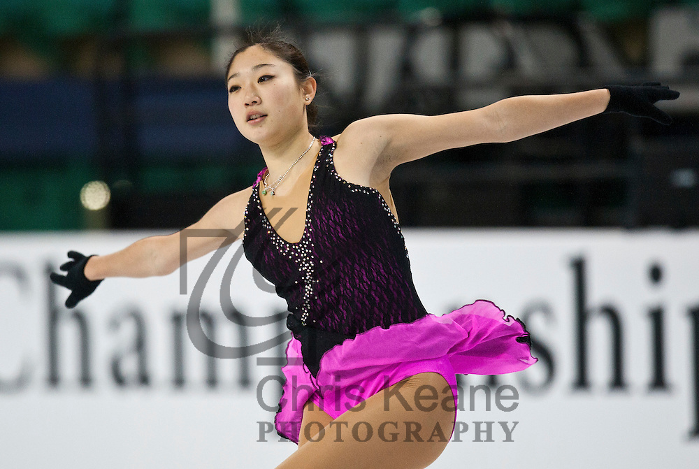 Mirai Nagasu skates in a practice session during the U.S. Figure Skating Championships in Greensboro, North Carolina on January 25, 2011. REUTERS/Chris Keane (UNITED STATES)