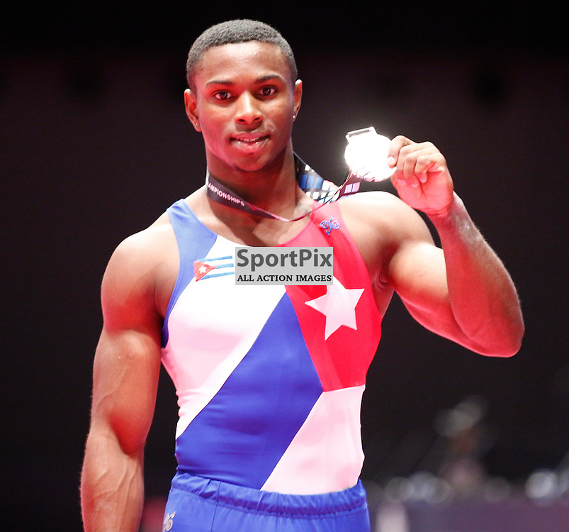 2015 Artistic Gymnastics World Championships being held in Glasgow from 23rd October to 1st November 2015.....Manrique Larduet (Cuba) Silver medal winner in the Men's All-Round Final...(c) STEPHEN LAWSON | SportPix.org.uk