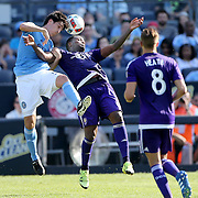 NEW YORK, NEW YORK - May 29:  Andoni Iraola #51 of New York City FC and Cyle Larin #9 of Orlando City FC challenge for the ball during the New York City FC Vs Orlando City, MSL regular season football match at Yankee Stadium, The Bronx, May 29, 2016 in New York City. (Photo by Tim Clayton/Corbis via Getty Images)