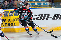 KELOWNA, CANADA - SEPTEMBER 24: Riley Stadel #3 of the Kelowna Rockets passes the puck against the Kamloops Blazers on September 24, 2016 at Prospera Place in Kelowna, British Columbia, Canada.  (Photo by Marissa Baecker/Shoot the Breeze)  *** Local Caption *** Riley Stadel;