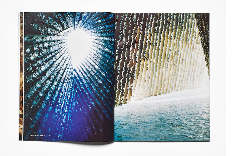 Detail of Hear the World a magazine for Phonak, View of Bruder Claus Kapelle by Peter Zumthor photographed by Sabine Reitmaier