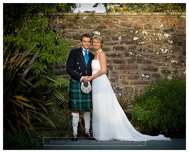Portrait of wedding couple at Ross Priory, Loch Lomond.