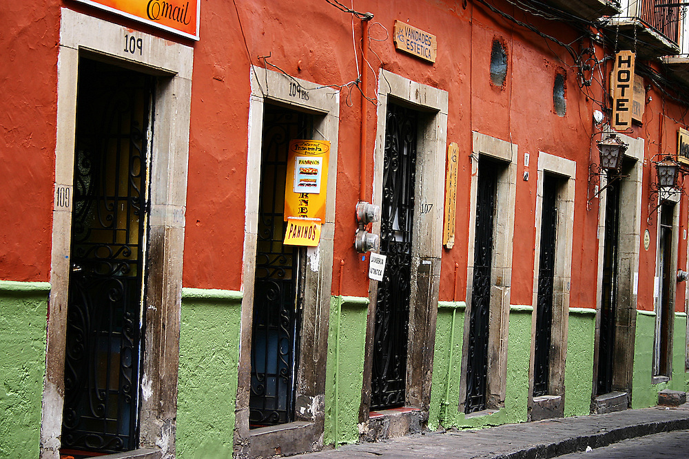 Doors line a street in Guanajuato, Mexico
