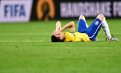 08.07.2014, Mineirao, Belo Horizonte, BRA, FIFA WM, Brasilien vs Deutschland, Halbfinale, im Bild Brazil's Oscar lies on the field // during Semi Final match between Brasil and Germany of the FIFA Worldcup Brazil 2014 at the Mineirao in Belo Horizonte, Brazil on 2014/07/08. EXPA Pictures © 2014, PhotoCredit: EXPA/ Photoshot/ Qi Heng<br /> <br /> *****ATTENTION - for AUT, SLO, CRO, SRB, BIH, MAZ only*****