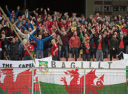ZENICA, BOSNIA & HERZEGOVINA - Saturday, October 10, 2015: Wales supporters celebrate their county qualifying for UEFA Euro 2016 after the match against Bosnia and Herzegovina during the UEFA Euro 2016 qualifying Group B match at the Stadion Bilino Polje. (Pic by Peter Powell/Propaganda)
