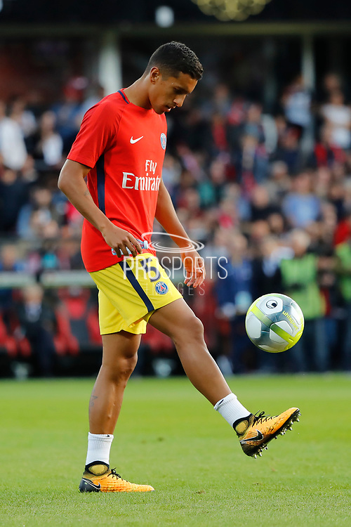 Marcos Aoas Correa dit Marquinhos (PSG) at warm up during the French championship L1 football match between EA Guingamp v Paris Saint-Germain, on August 13, 2017 at the Roudourou stadium in Guingamp, France - Photo Stephane Allaman / ProSportsImages / DPPI