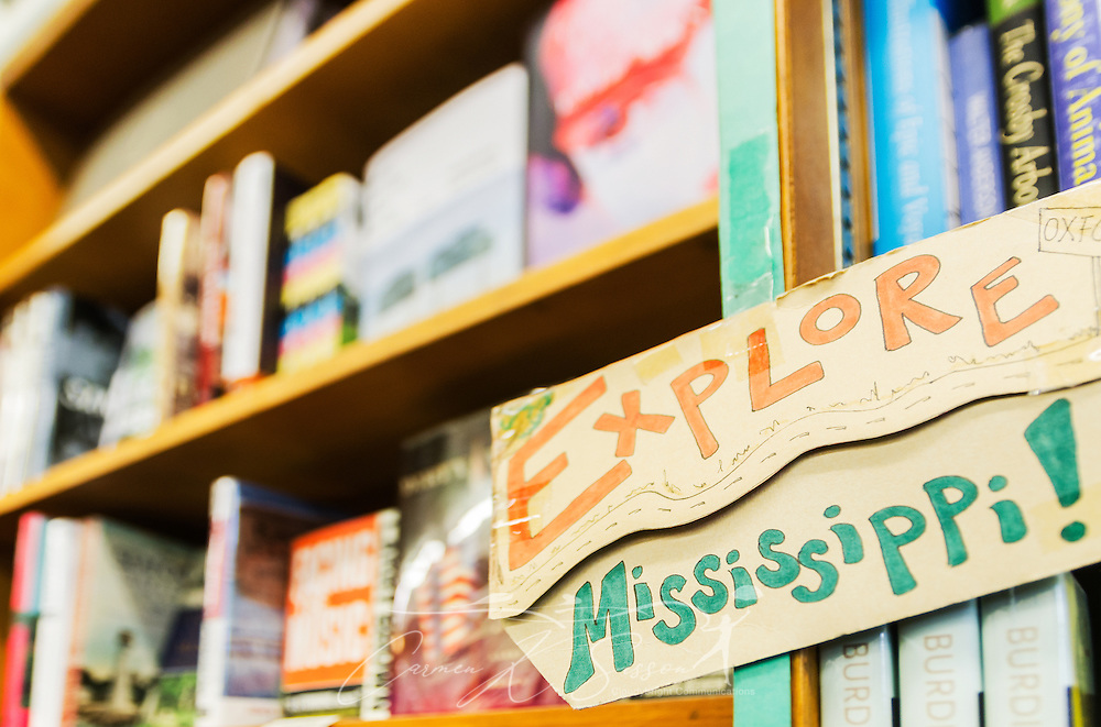 Books by Mississippi authors fill the shelves at Square Books, May 31, 2015, in Oxford, Mississippi. The family-owned bookstore was founded in 1979 by Richard and Lisa Howorth and is considered to be one of the catalysts prompting downtown revitalization in Courthouse Square. (Photo by Carmen K. Sisson/Cloudybright)