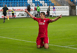 MOLDE, NORWAY - Wednesday, September 7, 2011: Liverpool's captain Conor Coady celebrates scoring the third goal against Molde's from the penalty spot during the second NextGen Series Group 2 match at Aker Stadion. (Photo by Vegard Grott/Propaganda)