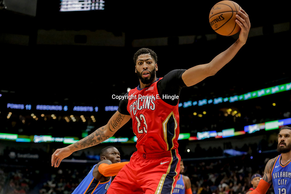 Dec 12, 2018; New Orleans, LA, USA; New Orleans Pelicans forward Anthony Davis (23) against the Oklahoma City Thunder during the second half at the Smoothie King Center. Mandatory Credit: Derick E. Hingle-USA TODAY Sports