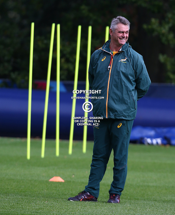 LONDON, ENGLAND - OCTOBER 13: Heyneke Meyer (Head Coach) of South Africa during the South African national rugby team training session at Pennyhill Park on October 13, 2015 in London, England. (Photo by Steve Haag/Gallo Images)