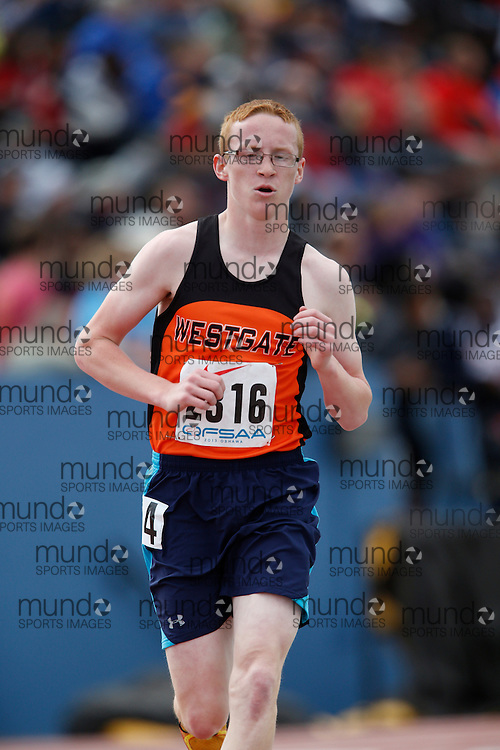 Cole Bour of Westgate CVI - Thunder  Bay competes in the midget boys 3000m at the 2013 OFSAA Track and Field Championship in Oshawa Ontario, Saturday, June 8, 2013.<br /> Mundo Sport Images/ Geoff Robins