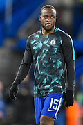 Chelsea midfielder Victor Moses (15) warms up ahead of  the Champions League match between Chelsea and Barcelona at Stamford Bridge, London, England on 20 February 2018. Picture by Martin Cole.