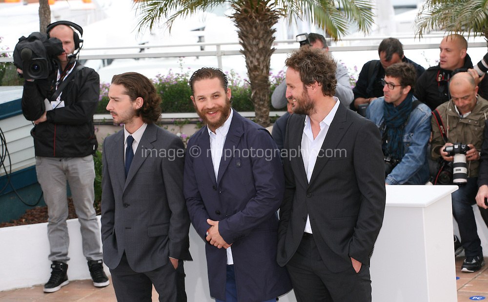 Shia Labeouf, Tom Hardy, Jason Clarke at the Lawless film photocall at the 65th Cannes Film Festival. The screenplay for the film Lawless was written by Nick Cave and Directed by John Hillcoat. Saturday 19th May 2012 in Cannes Film Festival, France.