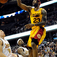 02 April 2009:   Cleveland Cavaliers forward LeBron James (23) slams in 2 of his game high 31 points in the 2nd half against the Washington Wizards at the Verizon Center in Washington, D.C.  The Wizards defeated the Cavaliers 109-101.