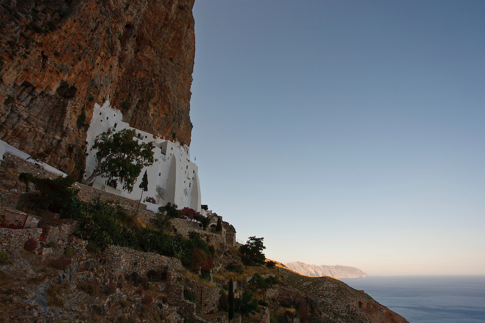 Hozoviotissa monastery built in cliff, Amorgos, Cyclades, Greece, Europe