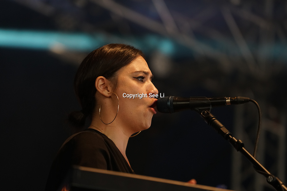 London, England, UK. 16th July 2017. Nadine Shah and her band performs at the Citadel Festival at Victoria Park, London, UK.