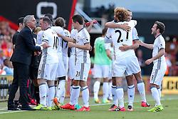 Zlatan Ibrahimovic of Manchester United celebrates with Marouane Fellaini after scoring a goal to make it 0-3 - Rogan Thomson/JMP - 14/08/2016 - FOOTBALL - Vitality Stadium - Bournemouth, England - Bournemouth v Manchester United - Premier League Opening Weekend.