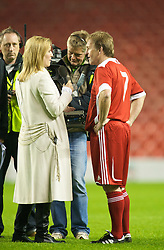 LIVERPOOL, ENGLAND - Thursday, May 14, 2009: Liverpool Legends' player/manager Kenny Dalglish is interviewed by his daughter Kelly Dalglish after the Hillsborough Memorial Charity Game at Anfield. (Photo by David Rawcliffe/Propaganda)