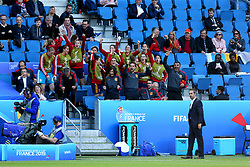 Spain players and staff celebrate in the stands as team mate Lucia Garcia scores their sides third goal of the game