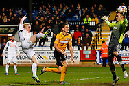 Mark Cullen of Luton Town scores his team's first goal to make it 1-1 during the Skrill Conference Premier match at the Abbey Stadium, Cambridge<br /> Picture by David Horn/Focus Images Ltd +44 7545 970036<br /> 11/03/2014