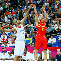 08 August 2012: Spain Sergio Rodriguez takes a jumpshot over Tony Parker during 66-59 Team Spain victory over Team France, during the men's basketball quarter-finals, at the 02 Arena, in London, Great Britain.