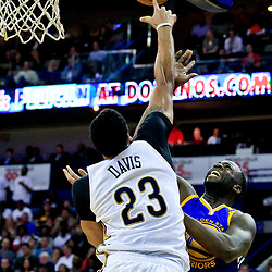 Oct 28, 2016; New Orleans, LA, USA;  New Orleans Pelicans forward Anthony Davis (23) blocks a shot by Golden State Warriors forward Draymond Green (23) during the second quarter of a game at the Smoothie King Center. Mandatory Credit: Derick E. Hingle-USA TODAY Sports