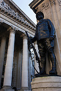 The first world war memorial beneath the columns and pillars of Royal Exchange, City of London.