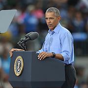 President Barack Obama campaigns for Democratic nominee Hillary Clinton at Osceola Park in Kissimmee Florida USA  06 Nov 2016
