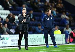 Bournemouth Manager, Eddie Howe and Preston North End Manager, Simon Grayson- Mandatory byline: Matt McNulty/JMP - 07966386802 - 22/09/2015 - FOOTBALL - Deepdale Stadium -Preston,England - Preston North End v Bournemouth - Capital One Cup - Third Round