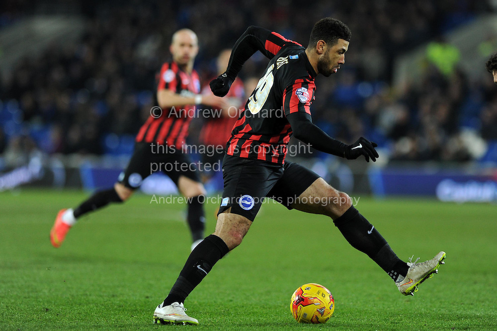 Leon Best of Brighton in action. Skybet football league championship match, Cardiff city v Brighton &amp; Hove Albion at the Cardiff city Stadium in Cardiff, South Wales on Tuesday 10th Feb 2015.<br /> pic by Andrew Orchard, Andrew Orchard sports photography.
