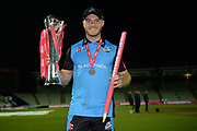 Ben Cox of with the Vitality Blast trophy during the final of the Vitality T20 Finals Day 2018 match between Worcestershire Rapids and Sussex Sharks at Edgbaston, Birmingham, United Kingdom on 15 September 2018.