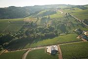 Aerial view over Dusky Goose estate Vineyards, Dundee Hills AVA, Willamette Valley, Oregon