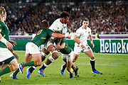 Courtney Lawes of England is tackled by Handre Pollard and Cheslin Kolbe of South Africa during the World Cup Japan 2019, Final rugby union match between England and South Africa on November 2, 2019 at International Stadium Yokohama in Yokohama, Japan - Photo Yuya Nagase / Photo Kishimoto / ProSportsImages / DPPI