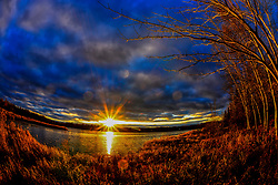 Late fall sunset over Spider Lake in northern Wisconsin.