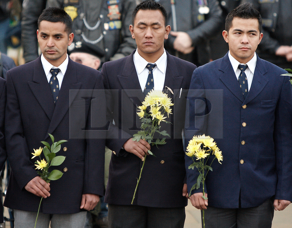 © Licensed to London News Pictures.  07/02/2012. CARTERTON, UK. Friends and family brave a bitterly cold day to pay their respects during the repatriation ceremony for Lance Corporal Gajbahadur Gurung from the Royal Gurkha Rifles, serving with 1st Battalion The Yorkshire Regiment, who was killed in Afghanistan on Friday 27 January 2012. He leaves behind his wife Manisha, father Gum Bahadur, mother Lekh Maya, his brother Buddha and sister Junu. Photo credit :  Cliff Hide/LNP