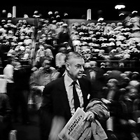 Shareholders arriving for the annual general meeting of UBS, Switzerland's biggest bank, in a concert stadium in Basel.