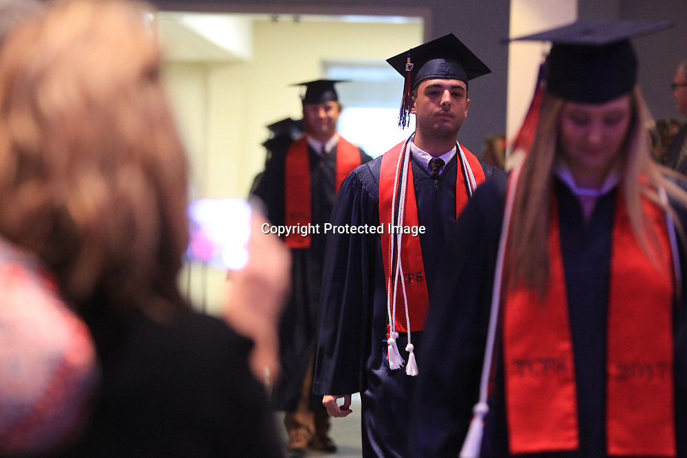 TCPS graduates make their way into the sanctuary of West Jackson Street Baptist Church for their graduation on Saturday afternoon.