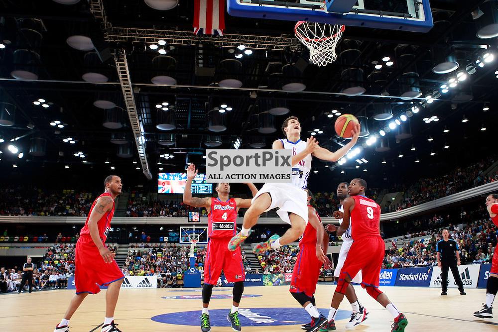 GB men vs Puerto Rico basketball at the Copper Box Arena. Devon van Oostrum (06) drives to the basket. 11/08/2013 (c) MATT BRISTOW