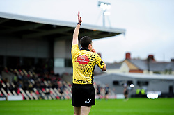 Referee  George Clancy awards Ashton Hewitt of Dragons' try - Ryan Hiscott/JMP - 25/10/19 - SPORT - Rodney Parade - Newport, Wales -