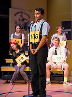 "Jack Harding as Chip Tolentino stumbles while attempting to spell the word ""tittup""  during dress rehearsal the 25th annual Putnam County Spelling Bee at Winnipesaukee Playhouse on Thursday evening.    (Karen Bobotas/for the Laconia Daily Sun)"