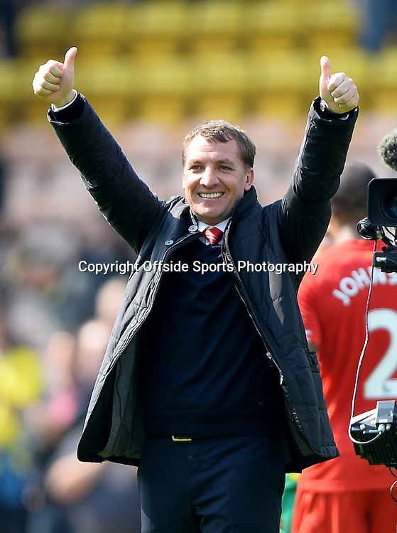 20 April 2014 - Barclays Premier League - Norwich City v Liverpool - Liverpool Manager, Brendan Rodgers celebrates at the final whistle - Photo: Marc Atkins / Offside.