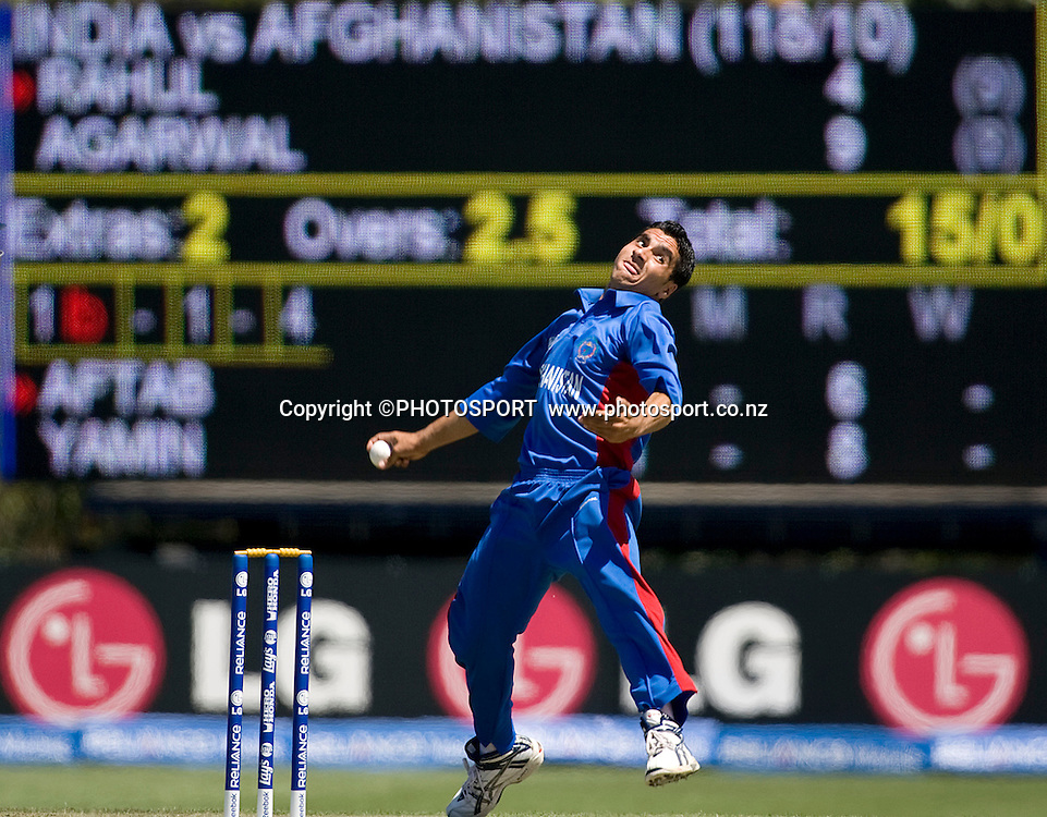 Aftab Alam during his bowling spell for Afghanistan. India v Afghanistan, U19 Cricket World Cup group stage match, Bert Sutcliffe Oval,  Friday 15 January 2010. Photo : Joseph Johnson/PHOTOSPORT