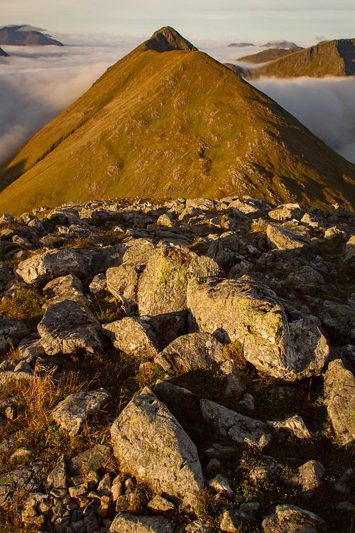 Morning light bathes the Buchaille Etive Beag range in Glencoe, Scotland