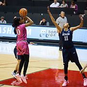 10 February 2018: The San Diego State Aztecs women's basketball team hosts Nevada on Play4Kay day at Viejas Arena. San Diego State Aztecs guard Cheyenne Greenhouse (30) attempts a jump shot over Nevada Wolf Pack forward Terae Briggs (11) in the first half. <br /> More game action at www.sdsuaztecphotos.com