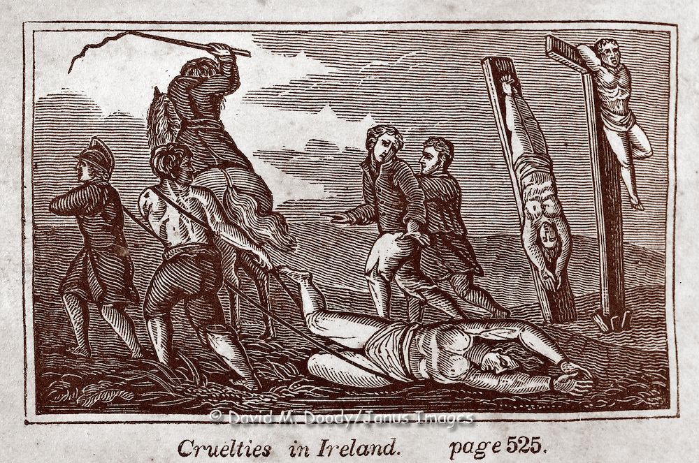 "Crucifixion & whipping.  ""Cruelties in Ireland"" Vintage Woodcut Illustration from: ""Book of Martyrs; or a History of the Lives Sufferings and Triumphant Deaths of the Primitive as well as Protestant Martyrs from the Commencement Of Christianity to the Latest Periods of Pagan an Popish Persecution""  Tortures carried out in the name of religion."
