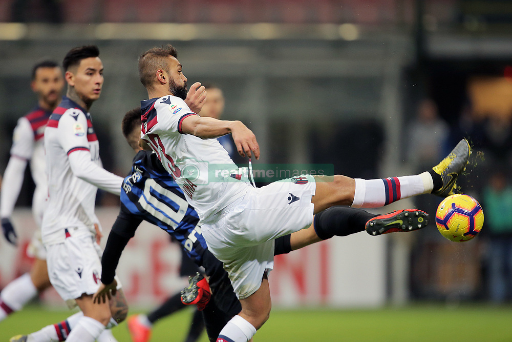 February 3, 2019 - Milan, Milan, Italy - Lautaro Martinez #10 of FC Internazionale Milano competes for the ball with Larangeira Danilo #23 of Bologna FC during the serie A match between FC Internazionale and Bologna FC at Stadio Giuseppe Meazza on February 3, 2019 in Milan, Italy. (Credit Image: © Giuseppe Cottini/NurPhoto via ZUMA Press)