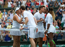 LONDON, ENGLAND - Saturday, July 6, 2019: Andy Murray (GBR) and Serena Williams (USA) (R) with Andreas Mies (GER) and Alexa Guarachi (CHI) after the Mixed Doubles first round match on Day Six of The Championships Wimbledon 2019 at the All England Lawn Tennis and Croquet Club. Murray & Williams won 6-4, 6-1. (Pic by Kirsten Holst/Propaganda)