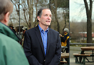 NEWTOWN, PA - APRIL 1:  State Senate Democratic candidate Steve Cickay speaks during a Rally Against Poverty Wages outside of Mike Fitzpatrick's office by MoveOn members calling out congressman for refusing to raise minimum wage April 1, 2014 in Newtown, Pennsylvania. (Photo by William Thomas Cain/Cain Images)